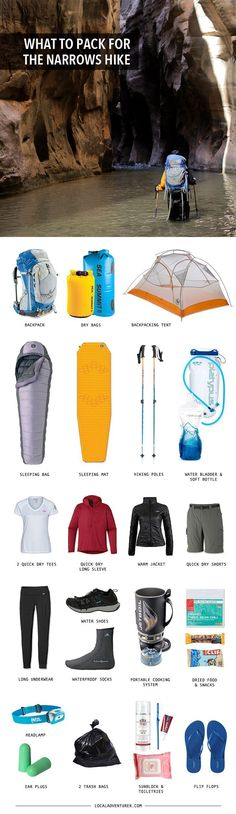Gear List for the Zion Narrows Hike + Tips Backpacking Gear List for the Zion Narrows Hike Top Down. camping gear, best camping gearBackpacking Gear List for the Zion Narrows Hike Top Down. Hiking Tips, Camping And Hiking, Hiking Gear, Hiking Backpack, Camping Hacks, Outdoor Camping, Camping Items, Kayak Camping, Zion Camping