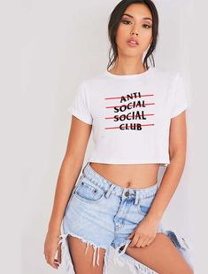 b892a6dcb1 ASSC Anti Social Social Club Line Crop Top Shirt Crop Top Sweater