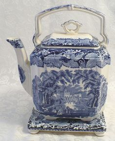 Mason's Vista Blue & White Transferware Staffordshire Tea Pot & Trivet from ivyroseantiques on Ruby Lane