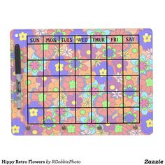 Hippy Retro Flowers Dry Erase Board With Keychain Holder - $46.60 - Hippy Retro Flowers Dry Erase Board With Keychain Holder - by #RGebbiePhoto @ #zazzle - #Flowers #Hippy #Retro - Colorful retro style flowers, hippy style in bright colors! Large petal flowers in a jumbled assortment. 70s Hippy look, great throwback item! Add your name or text to personalize for your favorite hippy!