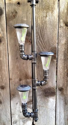Solar Powered Outdoor Chandelier/ Pendant Lighting Made Out of Iron Pipes