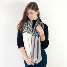 Best Product Award entry: This circle scarf in my blended triangle design in monochrome has been a consistent best seller since launching it in 2014. Each scarf is handmade from British spun lambswool on a hand powered knitting machine, steamed, linked and carefully finished by hand to create the highest quality. Customers often comment on the softness of the finish and that it goes well with so many different outfits.