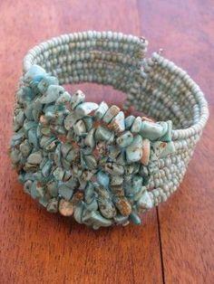 SuzieblueTurquoise chip and bead cuff