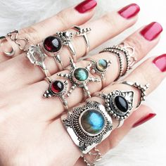 ↣❥☾ HUNTER COLLECTION ↣❥☾ Featuring lines of beautiful crystals stones and stacking rings. Shop it at www.shopdixi.com / boho / bohemian / labradorite / garnet / hippie / gypsy / sterling silver / herkimer diamond / midi rings / shop dixi