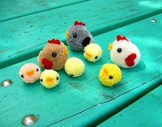 Pom-pom chickens; maybe for Christmas ornaments?