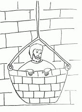 bible story coloring page for saul paul escapes in a basket