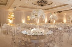 All white wedding reception Wedding Reception Table Decorations, Reception Party, Wedding Table, Decor Wedding, Reception Ideas, Wedding Chairs, Wedding Receptions, Wedding Show, Dream Wedding