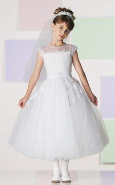 Tulle Illusion Neckline Cap Sleeves Tea-Length A-Line Flower Girl Dress  with Cascading Beaded Lace Appliques - Bridal Party Dresses -  RainingBlossoms eb69bb5b67da