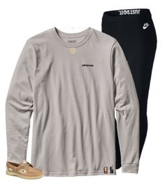 A fashion look from February 2017 featuring nike pants, Sperry and monogram necklaces. Browse and shop related looks. Casual Day Outfits, Nike Outfits, Winter Outfits, Casual Attire, School Outfits, Teenager Outfits, Athletic Outfits, Leggings Fashion, Nars Cosmetics
