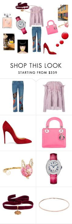 """Roses on my mind"" by maria-chamourlidou ❤ liked on Polyvore featuring Christopher Kane, Victoria, Victoria Beckham, Christian Louboutin, Christian Dior, Delfina Delettrez, Cartier, Diego Percossi Papi, Anita Ko and Topshop"