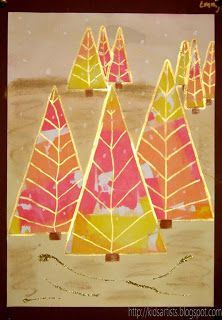 Kids Artists: Colourful Christmas trees - fun idea for kids. Could do fall colors as well.
