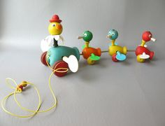 Vintage Fisher Price Pull Toy Gabby Goofy Ducks by PassedBy