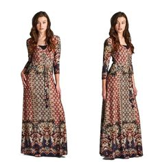 Bohemian Moroccan Maxi Dress S M L Beautiful bohemian faux wrap maxi dress with a full skirt and vibrant print. Dress features three-quarter sleeves and a belt tie at waist. Sizes: Small, Medium, Large available. Comment below with size and I will create a new listing for you to it purchase. Dresses Maxi