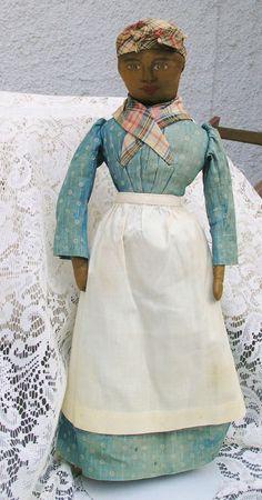 American Cloth Folk Doll with Original Costume circa late 1800's.