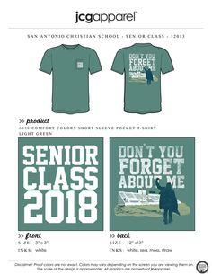 JCG Apparel : Custom Printed Apparel : Senior Class 2018 T-Shirt #senior #class #seniors #2018 #highschool #dontyouforgetaboutme #breakfastclub