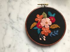 """Hand Embroidered Hoop Art Floral Flower 4"""" Stained Hoop Embroidery by HoffeltAndHooperCo on Etsy"""