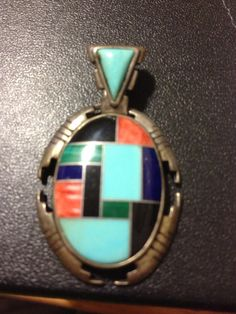 VINTAGE  NAVAJO Sterling silver inlay 925 Pendant by BargainBitz, $50.00 #emerald #diamond #gold #ring #navajo #nativeamerican #bracelets #necklace #earrings #turquoise #coral #rubies #whitegold #Italy #Italian #celtic #inlay #vintage #sapphire #ring #estate #antique #jewelry #pinksapphire #coral #amethyst #malachite #onyx #sterling #sterlingsilver #silver #whitegold #YG #WG #free #bargain #sale #pendant #cancer #komen #ribbon #heart #love #Italian #chain #Italy