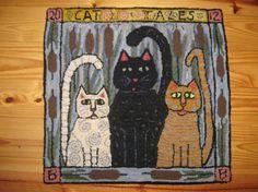 Cat Tales .... Rug hooking .