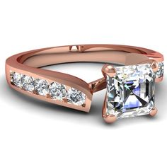 Asscher Cut Diamond Engagement Rings With White Diamond In 18K Rose Gold | Twine Edged Ring | Fascinating Diamonds