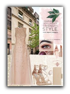 """evening party"" by yosimaharani ❤ liked on Polyvore featuring Oscar de la Renta, Kendra Scott, Steve Madden, Dune, Michael Kors, Maybelline, Estée Lauder and rosegold"