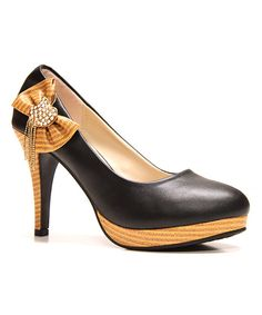 Take a look at the Odell Black Rhinestone Bow Pump on #zulily today!