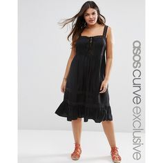 ASOS CURVE Sundress with Crochet and Lace Up Front (255 DKK) ❤ liked on Polyvore featuring dresses, black, plus size, womens plus dresses, crochet dress, plus size sundresses, sun dresses and plus size dresses