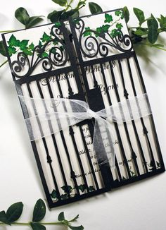 Black Gargen Gate Wedding Invitations , black laser cut wedding invitations
