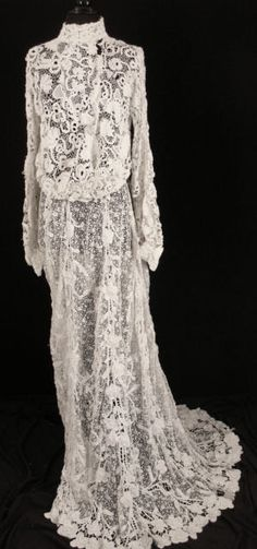 Exceptional RARE French Victorian 1800s Irish Crochet Lace Wedding Dress. Front
