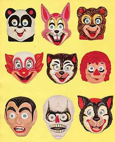 Vintage Halloween Costumes Ben Cooper Halloween masks from 1973 via design*sponge - Your home for all things Design. Home Tours, DIY Project, City Guides, Shopping Guides, Before Retro Halloween, Halloween Fotos, Vintage Halloween Decorations, Halloween Masks, Holidays Halloween, Halloween Crafts, Halloween Design, Vintage Posters, Vintage Art
