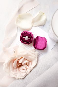 Use a ring box to make your ring pop! Budget Friendly Engagement Rings, Velvet Ring Box, Chic Vintage Brides, Pear Shaped Engagement Rings, Wedding Ring Box, Wedding Honeymoons, Pink Velvet, Wedding Details, Wedding Ideas