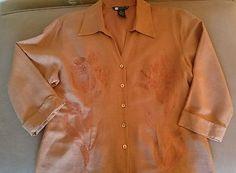Carolyn Little silk embroidered 3/4 length sleeve blouse in rich pumpkin orange