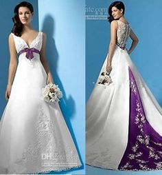 Best Selling White and Purple Satin A-Line Wedding Dresses Empire Waist V-Neck Beads Appliques Bow 2015 Bridal Gowns Custom Made W319