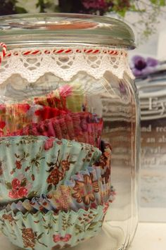 Display those pretty cupcake papers!, mason jars to hold all the diferentt cupcake papers