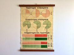 Mid Century Proper & Improper Fractions Math School Chart, Rare Pull Down Chart, Vintage Mathematics Chart, Educational Chart, Wall Decor.