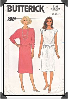 BUTTERICK Pattern 3283 - Misses Fast & Easy Blouson Pullover Dress w/Sleeve Options - Sz 8 B31.5 - Vintage 1980s. $4.00, via Etsy.