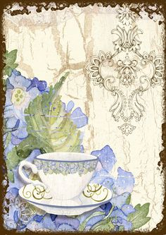 Hydrangea and Tea Time Note Cards by LadybugLaneandCo on Etsy, $7.45
