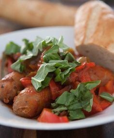 Slow Cooker Sausage and Peppers by EclecticRecipes.com #recipe