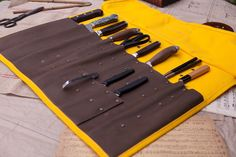 Yellow Canvas Knife Roll with Leather Trim – T.S. Prince & Company