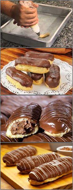 Receita de Bomba de Chocolate. Uma delícia! #bombadechocolate #receita #receitatodahora Zumbo Desserts, Candy Drinks, Best Sweets, Food Wishes, Cupcakes, How Sweet Eats, Chocolate Cookies, Love Food, Sweet Recipes