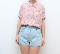 Vintage pink floral grunge 90s button up women pastel shirt