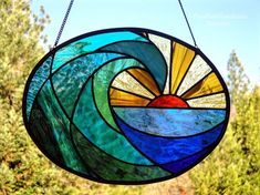 Stained Glass Suncatcher, Ocean Wave at Dawn, Oval Shaped, Glass Art Window Hanging, Ocean Scene, Beach Decor, Coastal, Glass Wave