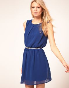 Belted blue dress
