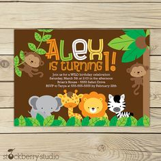 Safari Birthday Printable Jungle Animals Invitation party 5x7 invitation