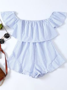 Frilly Off The Shoulder Beach Romper - Blue And White S