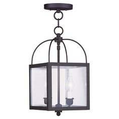 Box-shaped convertible pendant with seeded glass panels. Converts into a semi-flush mount.    Product: Convertible pendant