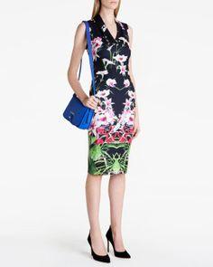 Mirrored tropics midi dress