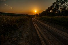 Sunset on an Country Dirt Road in Iowa