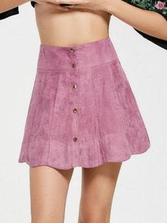 Snap Button High Waist A Line Skirt - Pinkish Purple M The skirt is cut in A-line silhouette and in fashion style. It is made of polyester and comfortable for you to wear. Zip at front and high waist design make the skirt elegant and pretty. Wear it with a T-shirt or a lovely blouse.  • Polyester • Regular fit  • Hand wash Material: Polyester  Length: Mini  Silhouette: A-Line  Pattern Type: Solid
