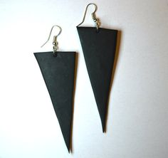 Black earrings Jewellery handmade Triangle by MajorMinorShop