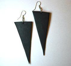 Black earrings Jewellery handmade Triangle by MajorMinorShop